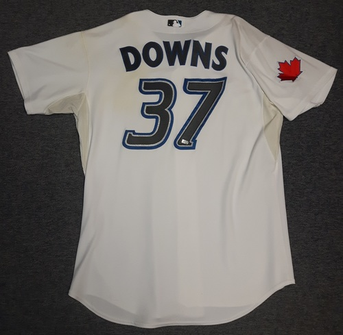 Photo of Authenticated Game Used Jersey - #37 Scott Downs (April 12, 2010: Home Opener). Downs went 0.2 IP with 1 Hit and 0 ER. Size 50