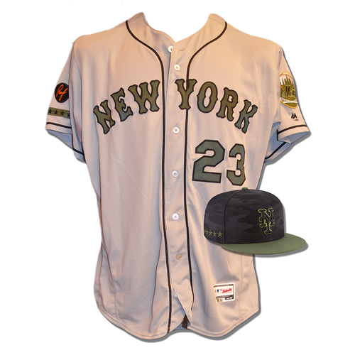 Photo of Adrian Gonzalez #23 - Game Used Road Grey Memorial Day Jersey and Hat - Mets vs. Braves - 5/28/18