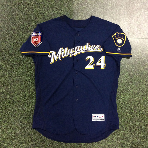 Photo of Jesus Aguilar Team-Issued 2018 Spring Training Jersey