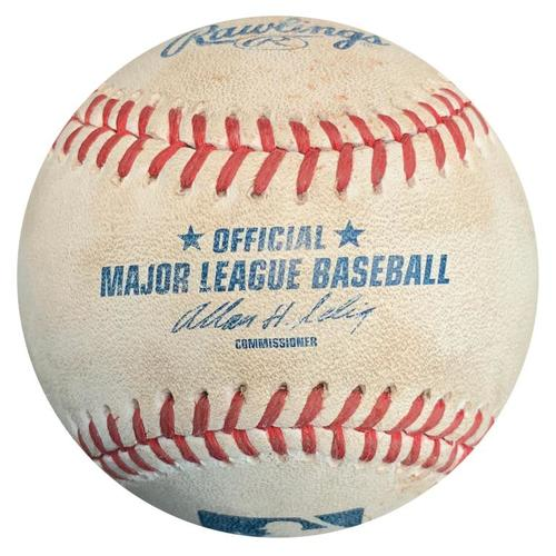 Photo of Game-Used Baseball from Pirates vs. Brewers on 6/8/14 - Jordy Mercer Bunt Single