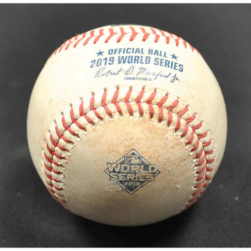 Photo of Game-Used Baseball: 2019 World Series - Game 3: Pitcher: Anibal Sanchez, Batter: Jose Altuve (Double) - Top 5