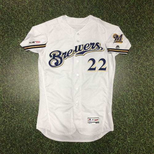 Photo of Christian Yelich 2019 Game-Used Home White Jersey