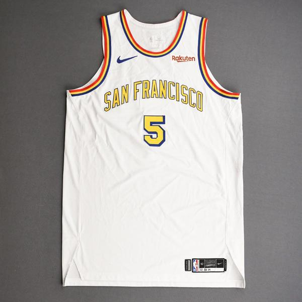 Image of Kevon Looney - Golden State Warriors - Game-Worn Classic Edition - 1962-63 San Francisco Home Jersey - 2019-20 NBA Season