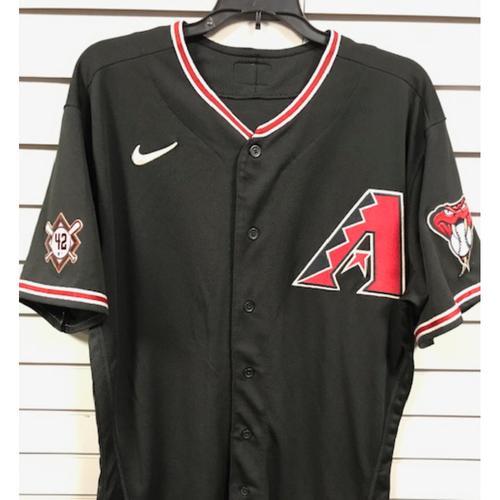 Photo of Carson Kelly 2020 Game-Used Jackie Robinson Day Jersey, 8/28/20 San Francisco Giants at Arizona Diamondbacks: Kelly went 1-4 with a Double and a Run Scored