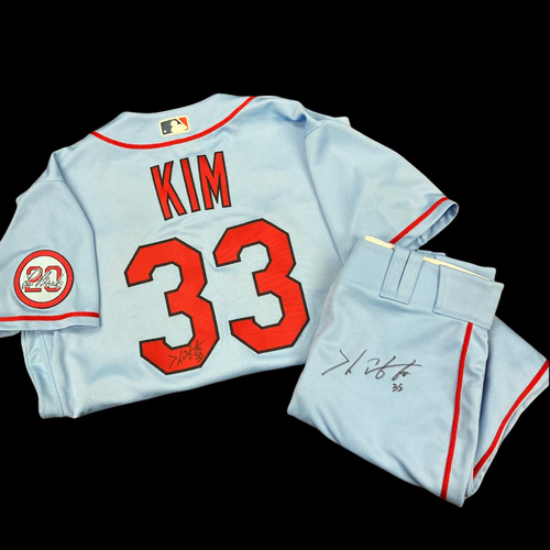 Photo of Kwang Hyun Kim Autographed Team Issued Road Alternate Jersey w/ Lou Patch (Size 44) and Road Alternate Pants (Size 34)