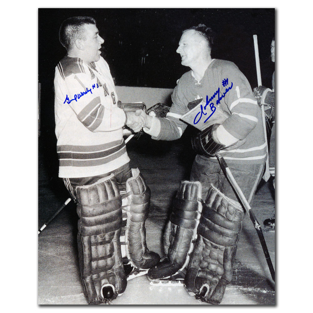 Gump Worsley & Johnny Bower Dual Autographed 11x14