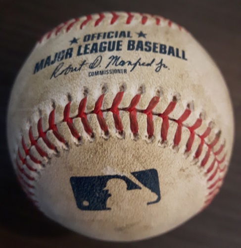Photo of Authenticated Game Used Baseball: Baseball from Lourdes Gurriel Jr's MLB Debut (April 20, 2018 vs New York Yankees)
