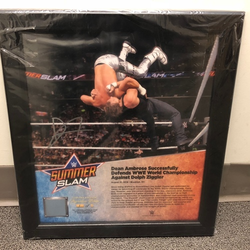 Photo of Dean Ambrose SIGNED SummerSlam 2016 Signature Series Ring Canvas Plaque (#1 of 5)