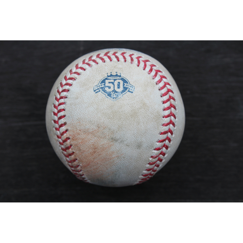 Photo of Game-Used Baseball: Manny Pina 121st Career Hit (MIL @ KC - 4/25/18)