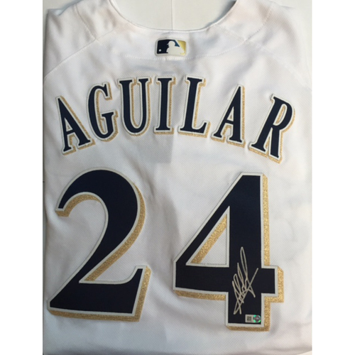 Photo of Jesus Aguilar Autographed Authentic Brewers Jersey