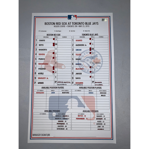 Photo of Boston Red Sox vs Toronto Blue Jays May 23, 2019 Game-Used Lineup Card - Red Sox Win 8 to 2