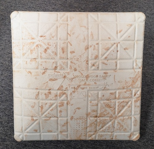 Photo of Authenticated Game Used Base - 3rd Base for Innings 4 to 6 (May 26, 19 vs SDP). 1st MLB Home Run for Cavan Biggio