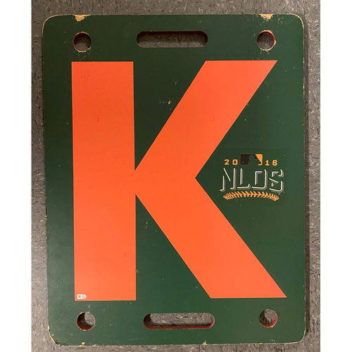 Photo of 2016 NLDS K Board - 10/11 - NLDS Game 4 vs. CHC - T-5: Matt Moore to Albert Almora - Strikeout Swinging & 10/10 - NLDS Game 3 vs. CHC - T-7: Derek Law to Kris Bryant - Strikeout Swinging