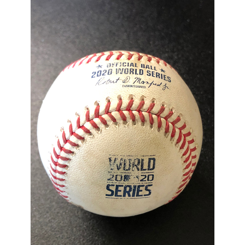 Photo of Game-Used Baseball - 2020 World Series - Tampa Bay Rays vs. Los Angeles Dodgers - Game 1 - Pitcher: Tyler Glasnow, Batters: Justin Turner (Strike Out, Double Steal), Max Muncy (Ball in Dirt) - Bot 5