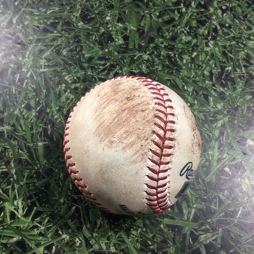 Photo of Game-Used Baseball ARI@MIL  05/21/18 - Zack Greinke - Christian Yelich / Jesus Aguilar: Single / Strikeout