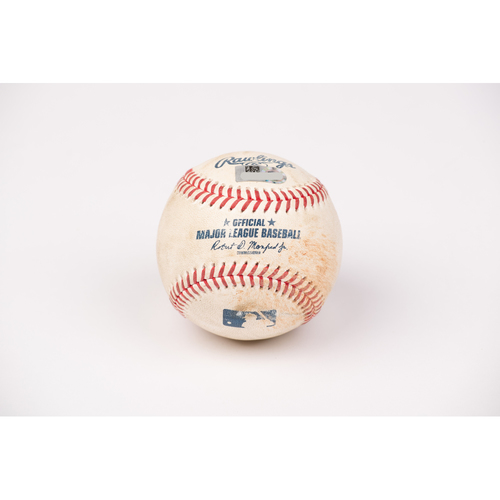 Photo of Game Used Baseball: Pitcher: Griffin Canning, Batter: Matt Chapman - Double - Top 3 - 8-12-2020 vs. OAK