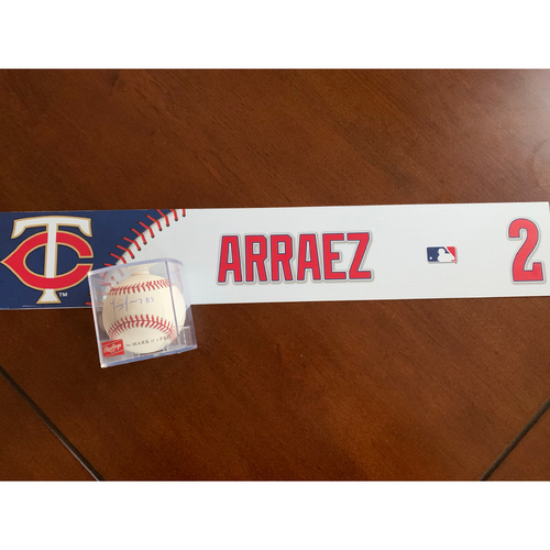 Photo of Luis Arraez Rookie Season Game-Used Locker Nameplate and Autographed Baseball