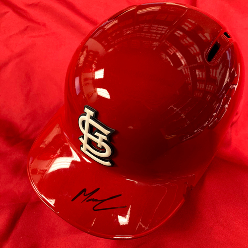 Photo of Matt Carpenter Autographed Team Issued Red Batting Helmet