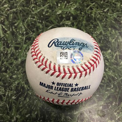 Photo of Game-Used Baseball LAD@MIL 05/02/21 - Alec Bettinger - Justin Turner: Single