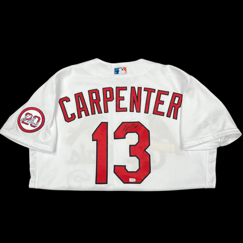 Photo of Matt Carpenter Autographed Team Issued Home Jersey w/ Lou Patch (Size 44)