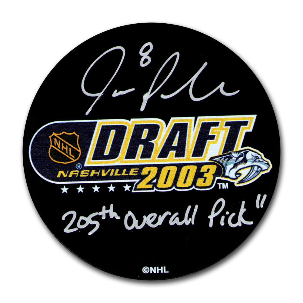 joe pavelski autographed 2003 nhl entry draft puck w205th