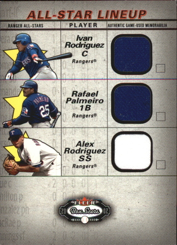 Photo of 2002 Fleer Box Score All-Star Lineup Game Used #3 Ivan Rodriguez Jsy/Rafael Palmeiro Bat/Alex Rodrig