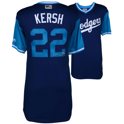 "Photo of Clayton Kershaw Los Angeles Dodgers Autographed Majestic ""Kersh"" Nickname Jersey"