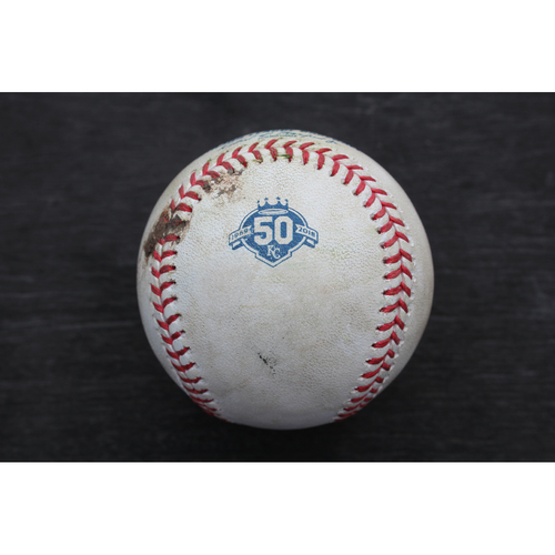 Photo of Game-Used Baseball: Luis Valbuena 670th Career Hit (LAA @ KC - 4/12/18)