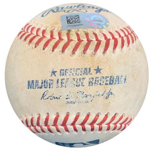 Photo of Game-Used Baseball from Pirates vs. Cardinals on 8/5/18 - Matt Carpenter Reaches on Error