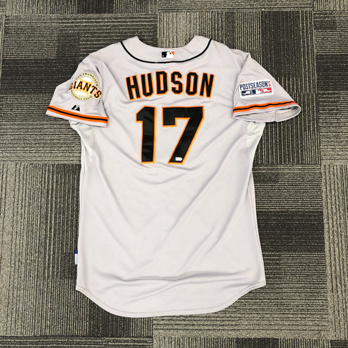 Photo of 2014 Postseason Game Used Jersey - Used by #17 Tim Hudson in 2014 Wild Card Game vs. Pittsburgh Pirates & NLCS Game 2 vs. St. Louis Cardinals - Size 46