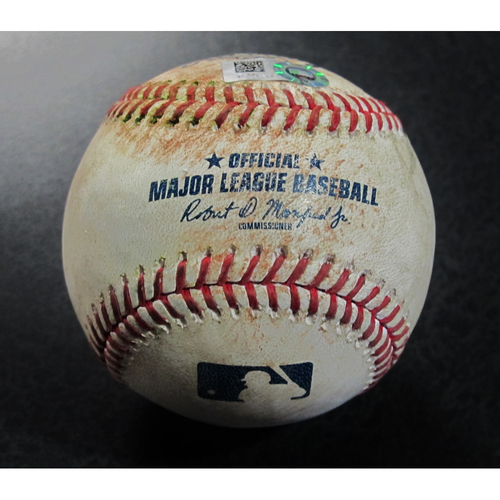 Photo of Game-Used Baseball - Isiah Kiner-Falefa Double (16) - 8/8/18