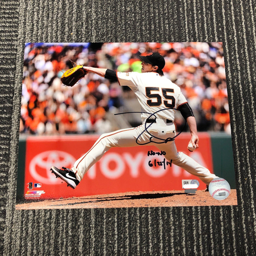 "Photo of Autographed 8 x 10 Photo - #55 Tim Lincecum - Inscribed ""No-No 6/25/14"""