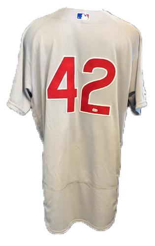 Photo of Steve Cishek Game-Used Jackie Robinson Day Jersey -- Cishek 1.2 IP, 0 ER, 1 K -- Size 48 -- Cubs at Marlins -- 4/15/19