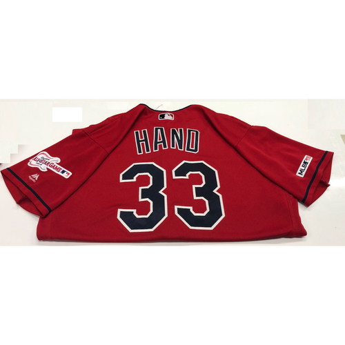 Photo of Brad Hand Game Used 2019 Opening Day New Home Alternate (Red) Jersey