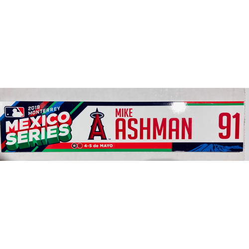 Photo of 2019 Mexico Series Game Used Locker Name Plate - Mike Ashman, Houston Astros at Los Angeles Angels - 5/4/19 - 5/5/19