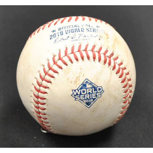 Photo of Game-Used Baseball: 2019 World Series - Game 4: Pitcher: Hector Rondon, Batter: Victor Robles (Single) - Bot 7