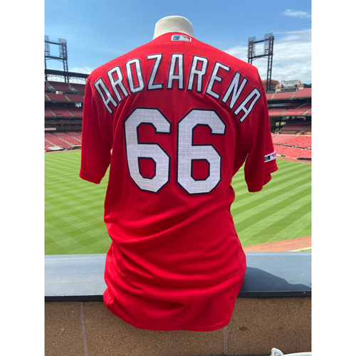 Photo of Cardinals Authentics: Team Issued Randy Arozarena Red BP Jersey