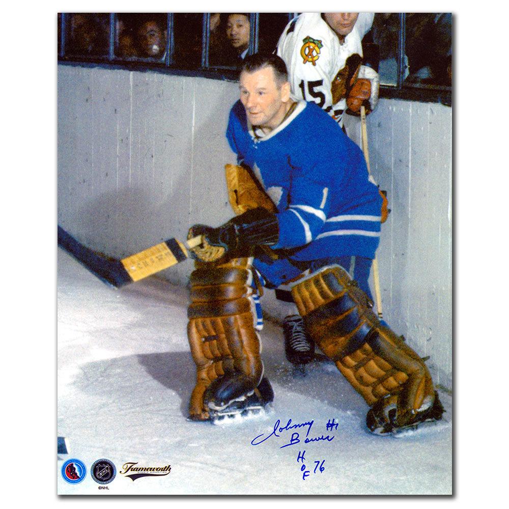 Johnny Bower Toronto Maple Leafs vs LITZENBERGER Autographed 11x14