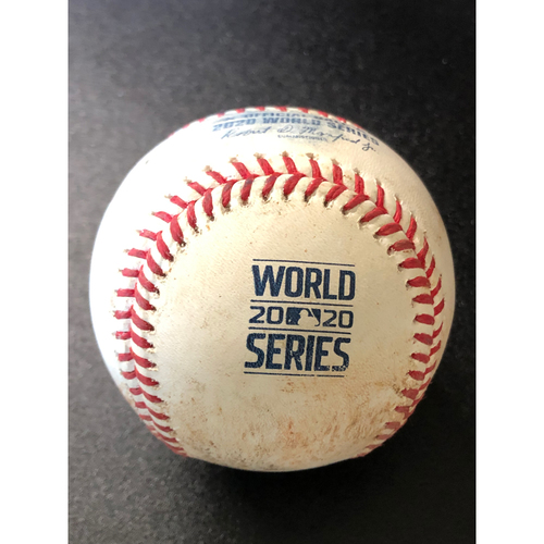 Photo of Game-Used Baseball - 2020 World Series - Tampa Bay Rays vs. Los Angeles Dodgers - Game 1 - Pitcher: Tyler Glasnow, Batter: Max Muncy (Reaches on Fielder's Choice 3-2, Betts beats throw home, scores run) - Bot 5