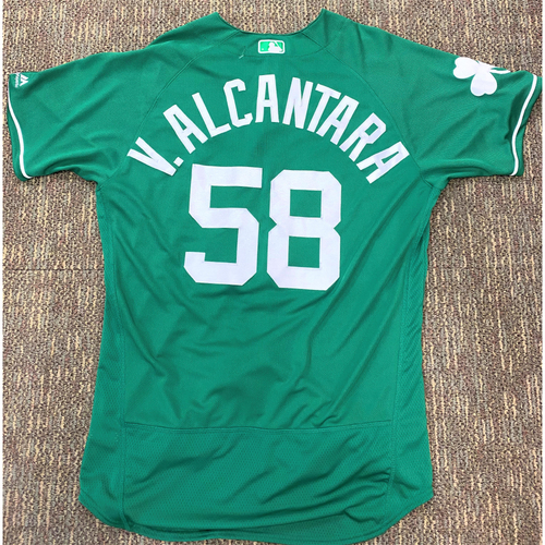 Photo of Victor Alcantara #58 Detroit Tigers Game-Used 2019 St. Patrick's Day Jersey (MLB AUTHENTICATED)