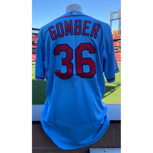 Photo of Cardinals Authentics: Team Issued Austin Gomber Road Alternate Blue Jersey