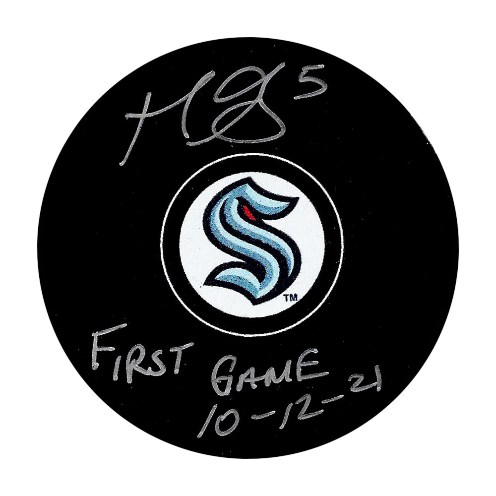 Mark Giordano Autographed Seattle Kraken Puck w/FIRST GAME 10-12-21 Inscription
