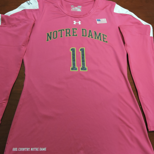 Photo of Notre Dame Volleyball Pink Jersey #11:  2016 Block Out Cancer Match, Under Armour® size S