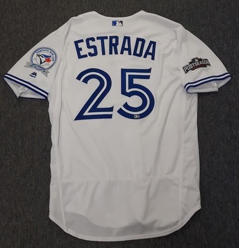 Photo of Authenticated Team Issued 2016 Postseason Jersey - #25 Marco Estrada. Size 46.