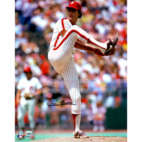 "Photo of Steve Carlton Philadelphia Phillies Autographed 16"" x 20"" Leg Up Photograph"
