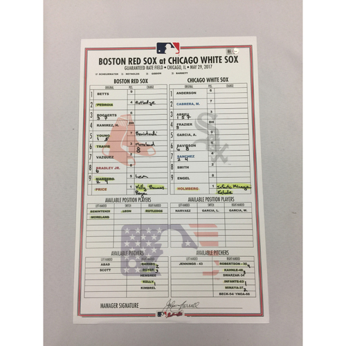Red Sox vs White Sox May 29, 2017 Game-Used Lineup Card - White Sox Win 5 to 4