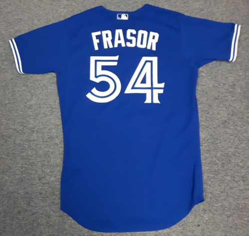 Photo of Authenticated Game Used Jersey - #54 Jason Frasor (September 29, 2012). Size 44
