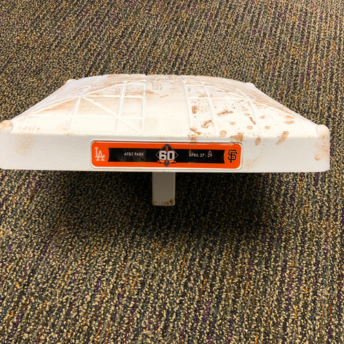 Photo of 2018 San Francisco Giants - Game Used Base - 60th Anniversary Logo - 4/27/2018 vs. Los Angeles Dodgers 3rd Base from Innings 1-3
