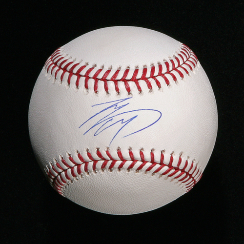 Photo of Shohei Ohtani Autographed in Blue Ink Baseball