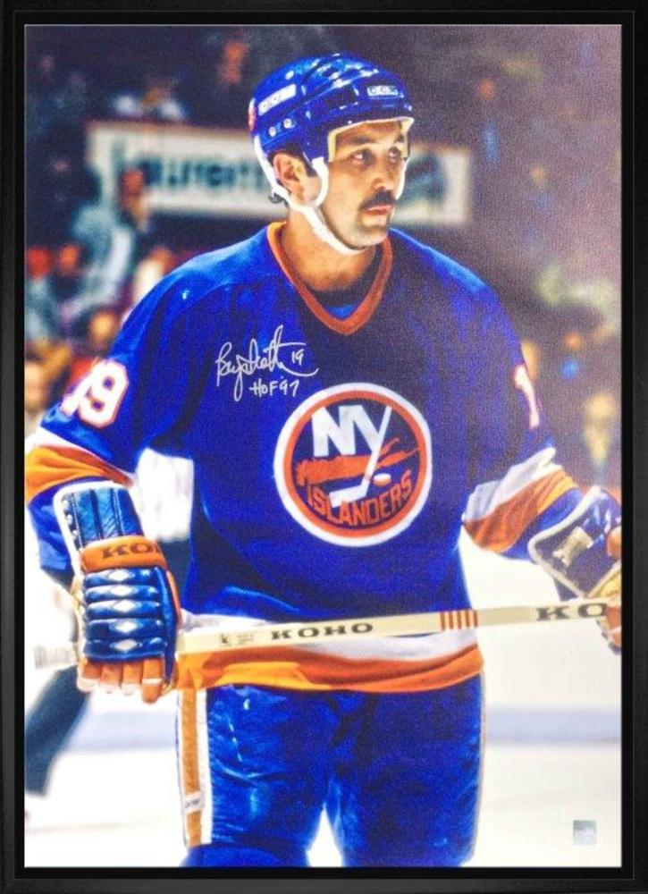 Bryan Trottier Signed 20x29 Canvas Islanders Blue Action - HOF'97 Inscription